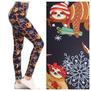Pants - Sloth holiday leggings supersoft yoga band
